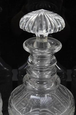 Lot 9-Trio cut glass decanters