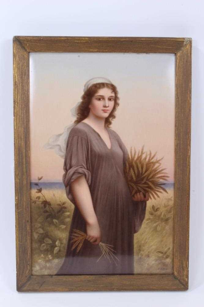 Lot 14-A fine quality late 19th century KPM Berlin porcelain plaque, finely painted polychrome panel depicting a painting after Charles Landelle of 'Ruth in the Cornfield', signed R Dittrich
