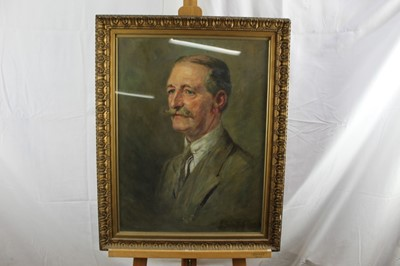 Lot 22-L. Graham Smith, 1930s oil on canvas - portrait of a moustached Gentleman, signed and dated 1933, in glazed gilt frame, 58cm x 44cm