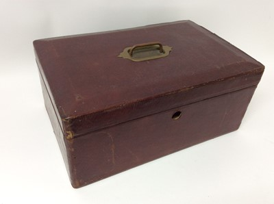 Lot 88 - Red Moroccan Leather Despatch Box with George V cypher to interior, by John Peck & Son