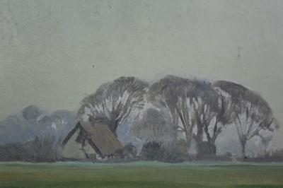 Lot 3-Henry Holzer (1907-2007) oil on board - rural landscape, signed, framed p