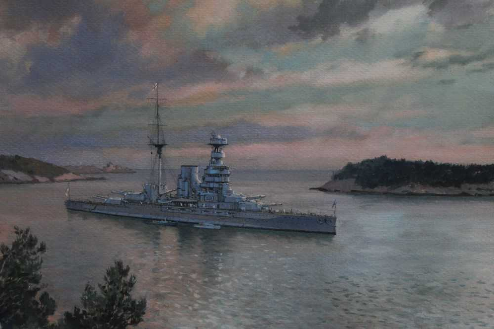 Lot 1-Johann Seits (1887-1967) watercolour - a destroyer off the coast of Dubrovnik, signed, inscribed and dated 1934, in glazed gilt frame, 21cm x 29cm