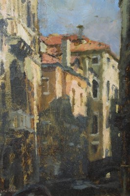 Lot 4-Charles Hardaker (b.1934) oil on board - Sunlight and Shadows, Venice, signed, titled, signed and inscribed verso, framed, 20cm x 15.5cm