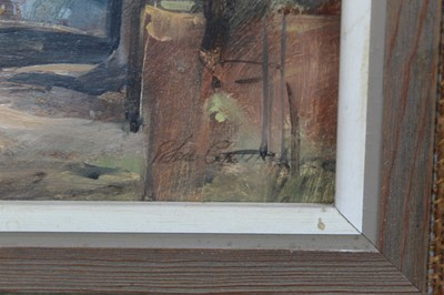 Lot 2-Peter Gilman 1928-1984) oil on board - View of Walberswick, signed, framed, 18cm x 26cm