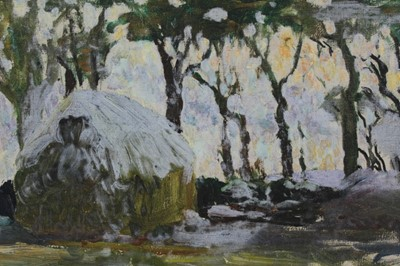 Lot 5-Mid 20th century oil on canvas laid on board - winter haystack, in carved frame, 24cm x 32cm