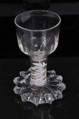 Lot 96 - Georgian opaque twist firing glass, c.1760