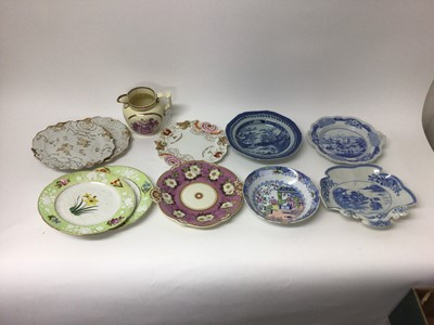 Lot 80 - Masons blue printed shell shaped dish, a Ridgway blue printed two handled dish and other ceramics