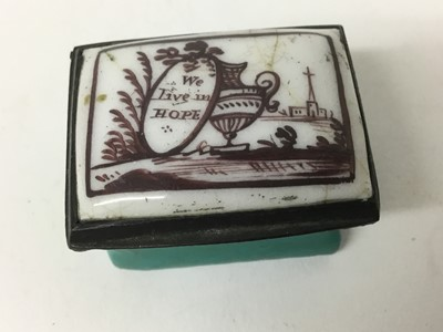 Lot 1-Ideal Christmas present for 2020: A South Staffordshire enamel rectangular patch box 'We Live in Hope', circa 1800-10