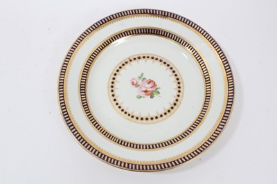 Lot 83 - Derby blue and gilt bordered plate, circa 1820