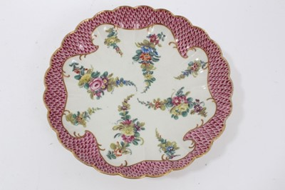 Lot 84 - Worcester pink scale bordered saucer dish, the porcelain circa 1770