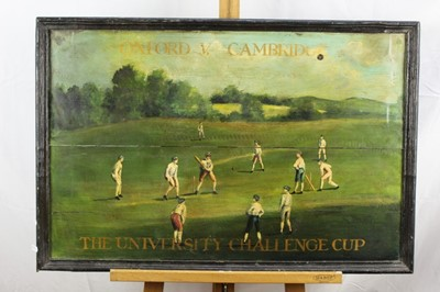 Lot 19-Decorative oil on panel depicting the Oxford V. Cambridge University Challenge Cup Cricket Match, framed, 50cm x 76cm