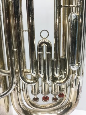 Lot 2-Weltklang silvered Bb four-valve tuba, 94cm high