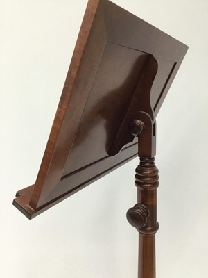 Lot 6-Italian inlaid mahogany music stand, fully adjustable for height and angle