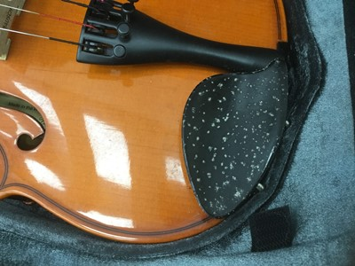 Lot 19-Modern Romanian three-quarter size violin in fitted case