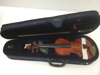 Lot 21-Five Stentor student violins