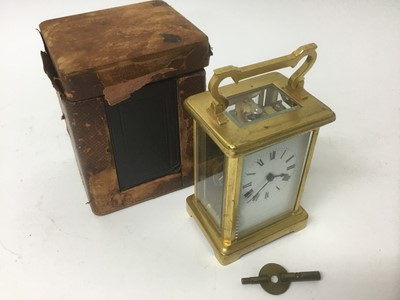 Lot 11-Late 19th / early 20th century French brass carriage clock