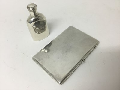 Lot 12-Victorian silver communion wine flask, together with a silver cigarette case