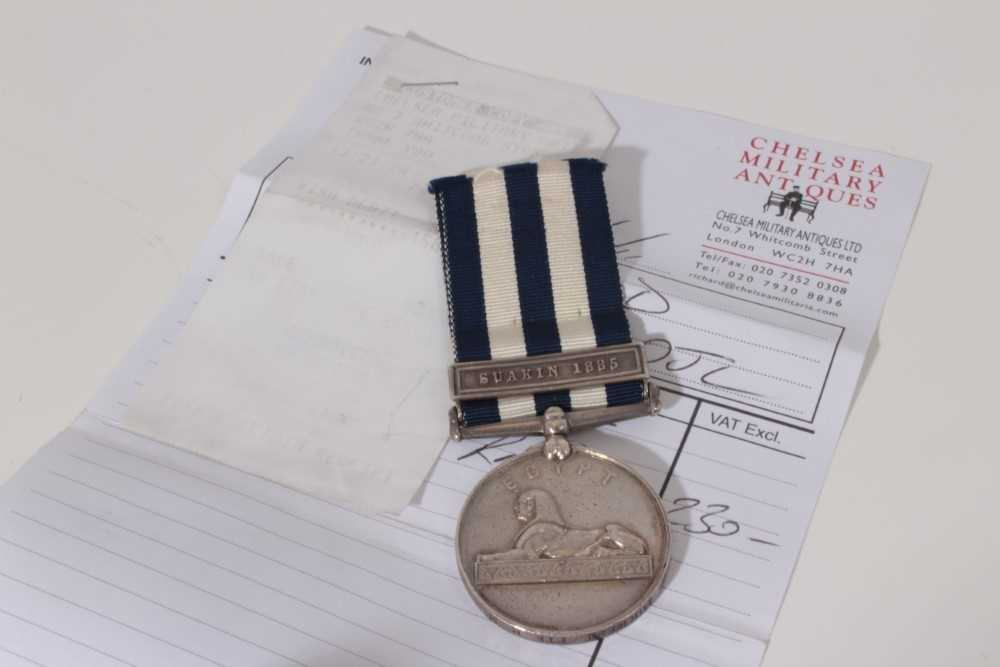 Lot 202-Victorian Egypt medal (1882 - 89) with one clasp- Suakin 1885, named to E. J. Forrest. PTE. R.M. (some evidence of ghosting on the naming is visible)