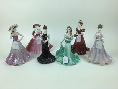 Lot 192 - Six Coalport Ladies of Fashion figures - Stunning in Black, Sunday Best, Jenny, Carol, Margaret and Precious