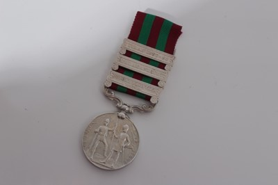 Lot 205-Victorian India medal (1895 - 1902), with three clasps- Punjab Frontier 1897-98, Malakand 1897 and Tirah 1897 - 98, named to 1770 Sepoy Gokal 31st BI. Infy.
