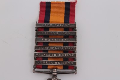 Lot 206-Queen's South Africa medal with six clasps- Tugela Heights, Orange Free State, Relief of Ladysmith, Transvaal, Laing's Nek and Cape Colony, named to 3258 Pte. J.T. Monger. Middlesex. Regt.