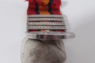 Lot 207-Queen's South Africa medal with four  clasps- Cape Colony, Orange Free State, Johannesburg and South Africa 1901, named to 4229 Pte. C.S. Bickford. S. Wales. Bord