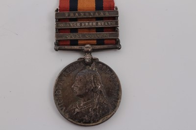 Lot 209-Queen's South Africa medal with three clasps- Cape Colony, Orange Free State and Transvaal, named to 6217 Pte. W. McDonald. Derby. Regt.