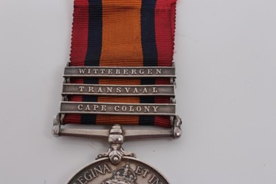 Lot 210-Queen's South Africa medal with three clasps- Cape Colony, Transvaal and Wittebergen, named to 5229 Bomb: G. Deamer. 6th E. D. R.G.A.