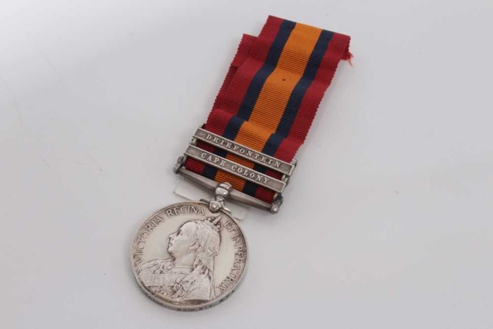 Lot 211-Queen's South Africa medal with two clasps- Cape Colony and Driefontein, named to 21802 A.BR. F. A. Payne. 85th Bty: R.F.A.