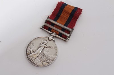 Lot 212-Queen's South Africa medal with two clasps- Transvaal and South Africa 1902, named to 5689 Pte. W. George. Norfolk. Regt.