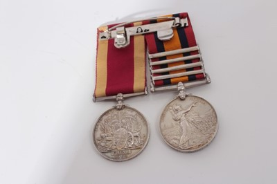 Lot 213-Victorian medal pair comprising Queen's South Africa medal with four clasps- Cape Colony, Paardeberg, Driefontein and Transvaal, named to 72963 GNR: C. Tuffrey. 15th Coy. S.D. R.G.A. together with...