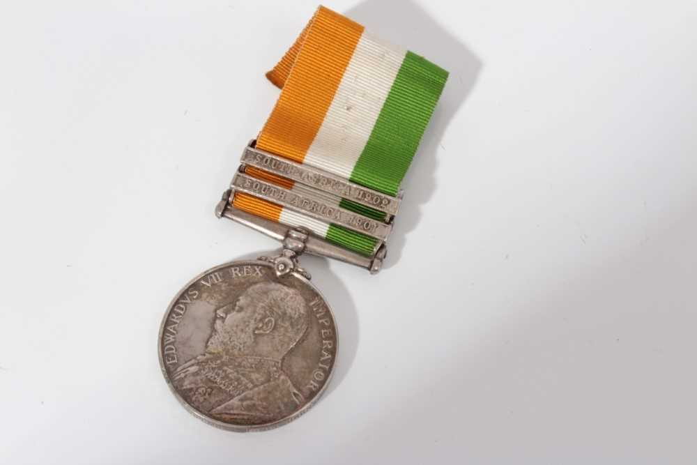Lot 214-King's South Africa medal with two clasps- South Africa 1901 and South Africa 1902, named to 5162 Pte. G. J. Clemo Innis: Drgns