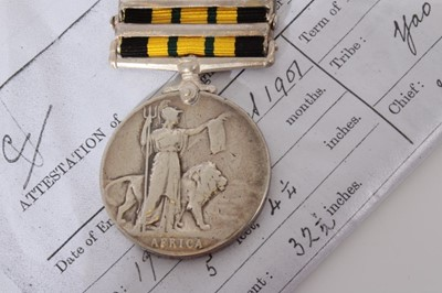 Lot 216-Edwardian Africa General Service medal with two clasps- Somaliland 1902 - 04 and Jidballi, named to 1179 Pte. Chimenia. 2nd K. A. RIF. together with printed research