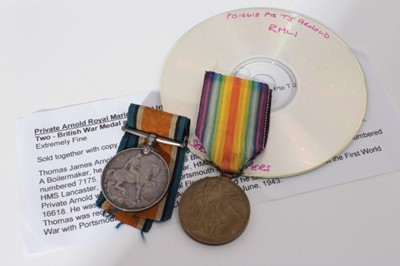 Lot 218-First World War pair comprising War and Victory medals named to P.O. 16618 PTE. T. J. Arnold. R.M.L.I. together with printed research
