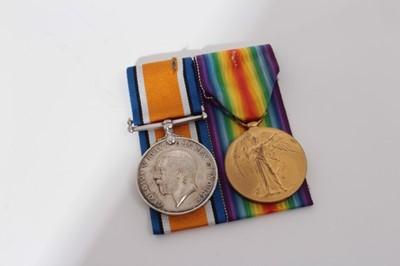Lot 219-First World War pair comprising War and Victory medals named to P.O. 2001 -S- Pte. W. Jordon. R.M.L.I.