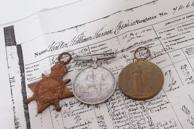 Lot 220-First World War trio comprising 1914- 15 Star, War and Victory medals named to PO. 7466. A.CPL. W.W.W. Cheshire. R.M.L.I., together with printed research