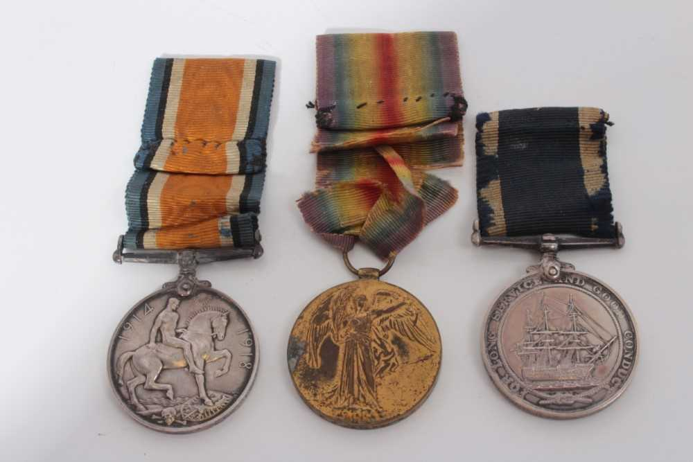 Lot 221-First World War Trio comprising War and Victory medals named to 200379. W. J. Waters. A.B. R.N.  together with a George V Navy Long Service and Good Conduct medal named to 200379. W. J. Waters. A.B...