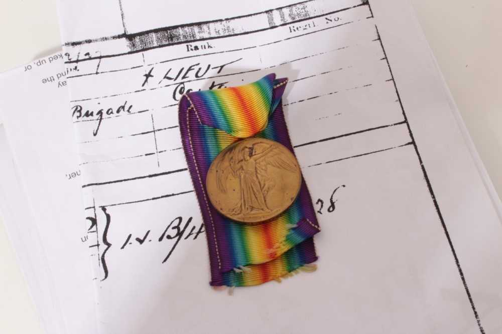 Lot 222-First World War Victory medal named to Lieut. L.A.A. Tollemache, together with printed research