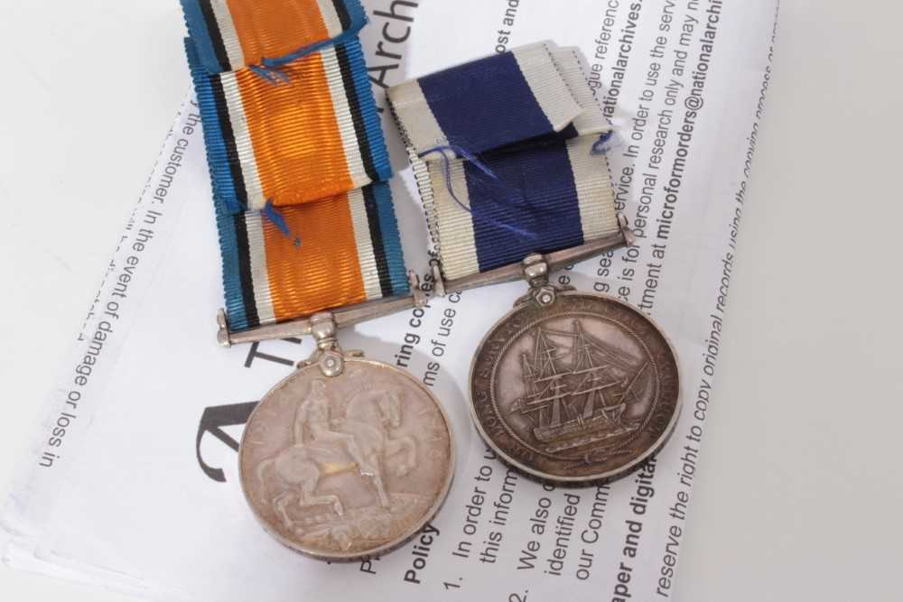Lot 223-First World War War medal named to PLY. 5332 C.G. Pike. CR. SGT. R.M. together with a George V Naval Long Service and Good Conduct medal named to PLY. 53332 C.G. Pike. Band Sergt. R.M.L.I, and prin...