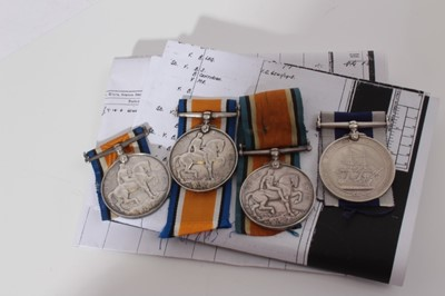 Lot 226-Group of four First World War medals comprising three War medals named to PO-1033-s- Pte. R. Gilbey. R.M.L.I, CH.2831-s- Pte. G.R. Smith R.M.L.I, CH. 21844 Pte. H. Witherden. R.M.L.I and a George V...