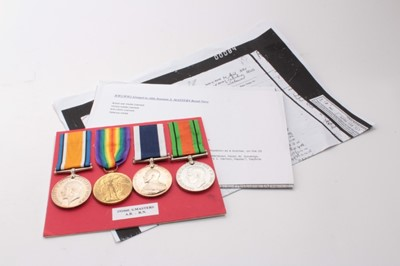Lot 227-First World War and later medal group comprising War and Victory medals named to 191060 S. Masters. A.B. R.N.,George V Naval Long Service and Good Conduct medal named to 191060 S. Masters. A.B. H.M...