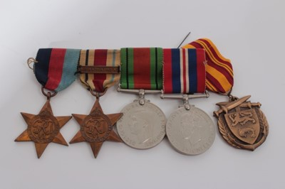 Lot 228-Second World War medal group comprising 1939 - 1945 Star, Africa Star with North Africa 1942 - 43 clasp, Defence and War medals (mounted on bar) together with a Dunkirk Commorative medal (5 Medals)