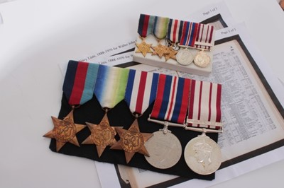 Lot 230-Second World War and later Naval medal group comprising 1939 - 1945 Star, Atlantic Star, France and Germany Star, War medal and George VI Naval General Service medal with one clasp- Minesweeping 19...