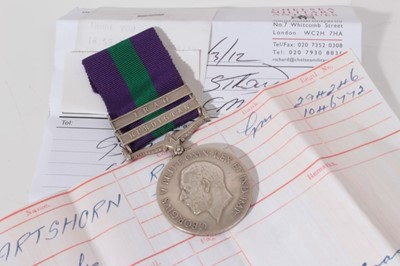 Lot 232-George V General Service medal with two clasps- Kurdistan and Iraq, named to 294246 GNR. C. Hartshorn. R.A.