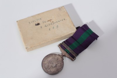 Lot 233-Elizabeth II General Service medal with one clasp- Arabian Peninsula, named to 2386598 ACT. SGT.  Glendinning. R.A.F., together with box of issue