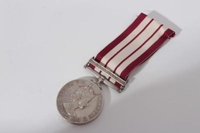 Lot 236-Elizabeth II Naval General Service medal with one clasp- Near East, named to C/J. 935564 B.M. Wilkerson. Tel. R.N.