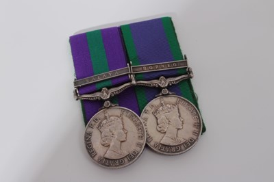 Lot 237-Elizabeth II medal pair comprising Pre 1962 type General Service medal with one clasp- Malaya, named to 21149862 RFN. Minbahadur RAI. 10 G.R together with a Post 1962 type General service medal wit...