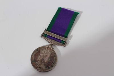 Lot 243-Elizabeth II Post 1962 type General Service medal with one clasp- South Arabia, named to 23675895 DVR. M. J. Blank. RCT.