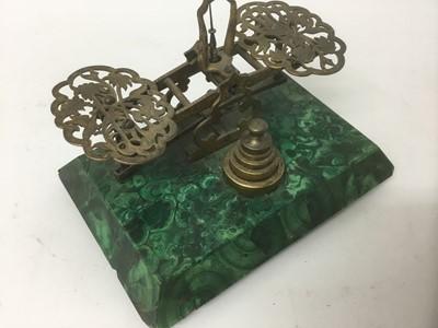 Lot 17-Victorian malachite postal scales