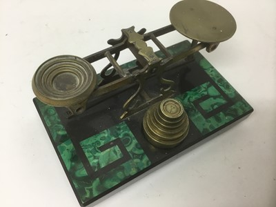 Lot 18-Early 20th century malachite and slate postal scales